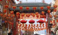 Chinese New Year blooms red lanterns and dragon parade in London
