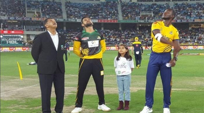 Multan Sultans field against Zalmi in PSL 3 opener