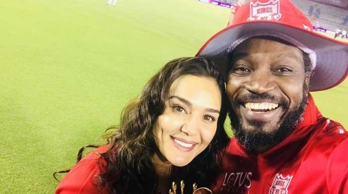 Chris Gayle and Preity Zinta celebrate their win in style