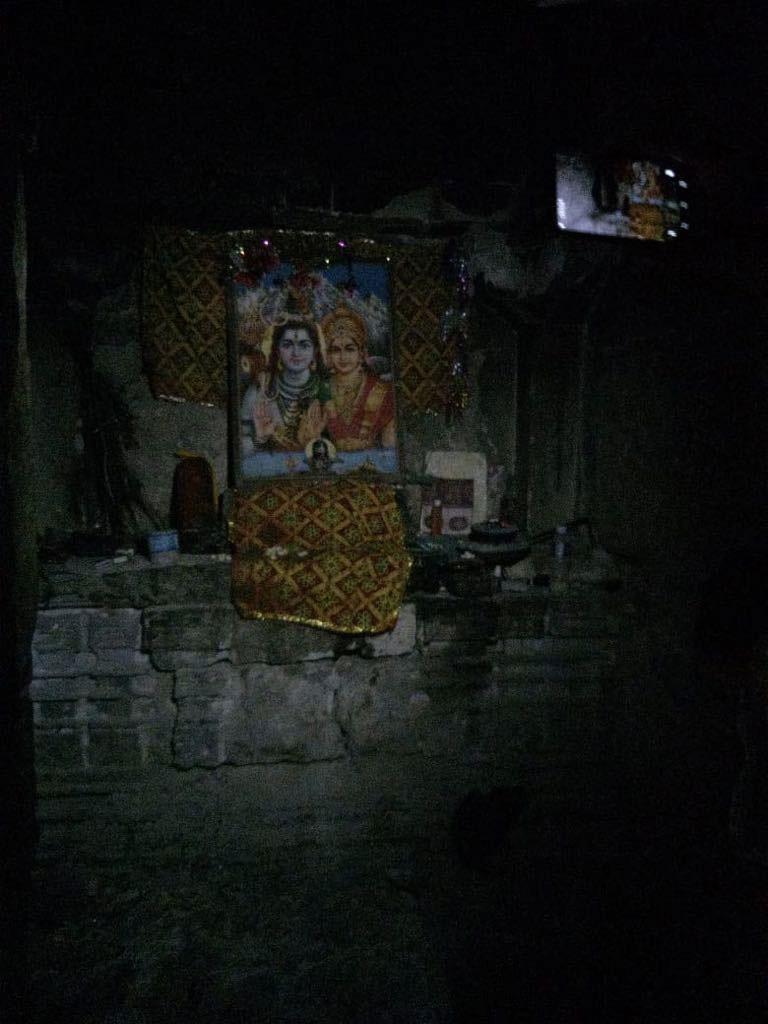 Painting kept inside Gori Mandir indicating a Hindu God