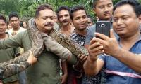 18-foot long Python chokes man as he poses for selfie