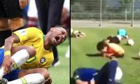Neymar teaches school kids to fall and roll