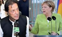 German Chancellor Angela Merkel felicitates Imran Khan