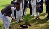 PM Imran Khan plants a tree at Foreign Office