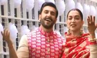 Newlyweds Deepika and Ranveer land back home