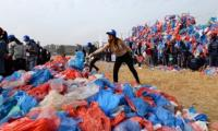 Nepal attempts record with a Dead Sea of plastic bags