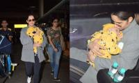 Sania Mirza and son Izhaan steal glances at the airport