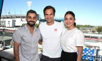 Three legends, one picture: Virat Kohli, Anushka Sharma meet Roger Federer