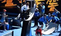 Spider-cam smashes into umpire's sun shield