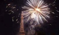 Fireworks held at Minar-e-Pakistan to mark Pakistan Day