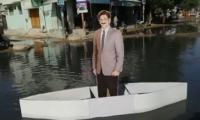 CM Murad Ali Shah's cutout floats in Karachi's sewerage water