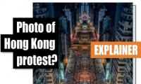 Fact-check: That 'incredibly beautiful' photo of the Hong Kong protest? It's a cropped, mirrored image