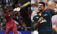 Carlos Brathwaite wants his bat fixed and NZ's Ish Sodhi has the perfect response