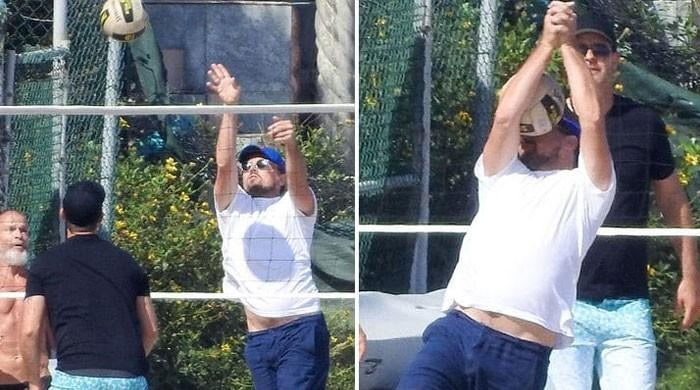 Leonardo DiCaprio gets hit with a volleyball and the internet is in fits