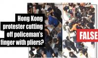 Fact-check: Did Hong Kong protester cut off policeman's finger with pliers?