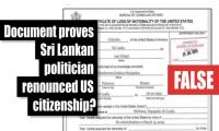 Fact-check: Does this document prove Sri Lankan politician renounced US citizenship?