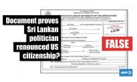 Fact-check: Document proves Sri Lankan politician renounced US citizenship?