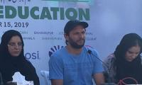 Afridi bats for girls' education, announces campaign under his foundation