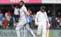India towers Bangladesh with Shami-led pace attack