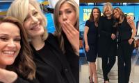 Jennifer Aniston, Reese Witherspoon let their inner fan girl out meeting Diane Sawyer