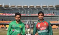 Babar Azam, Mahmudullah unveil T20I series trophy