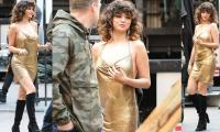 Selena Gomez glimmers in gold for her upcoming music video
