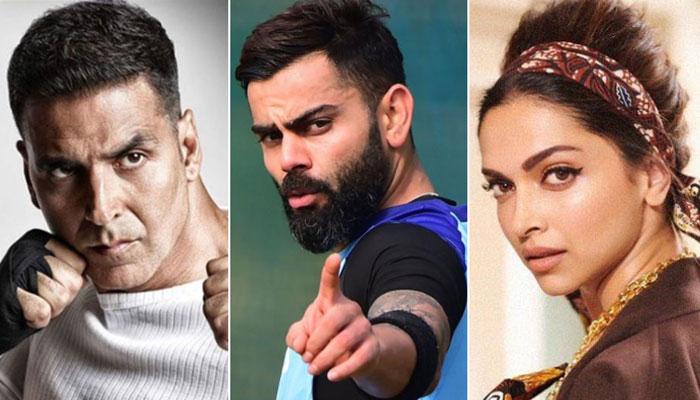 Virat Kohli leads as Akshay Kumar steals Deepika's second ...