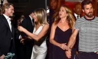 Jennifer Aniston still tugs at Justin Theroux and Brad Pitt's heartstrings?