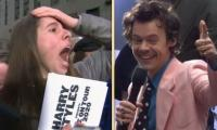 Harry Styles superfan falls to the ground in shock after he gives VIP tickets: WATCH