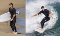 Liam Hemsworth flaunts his impressive surfing skills while having fun at Phillip Island