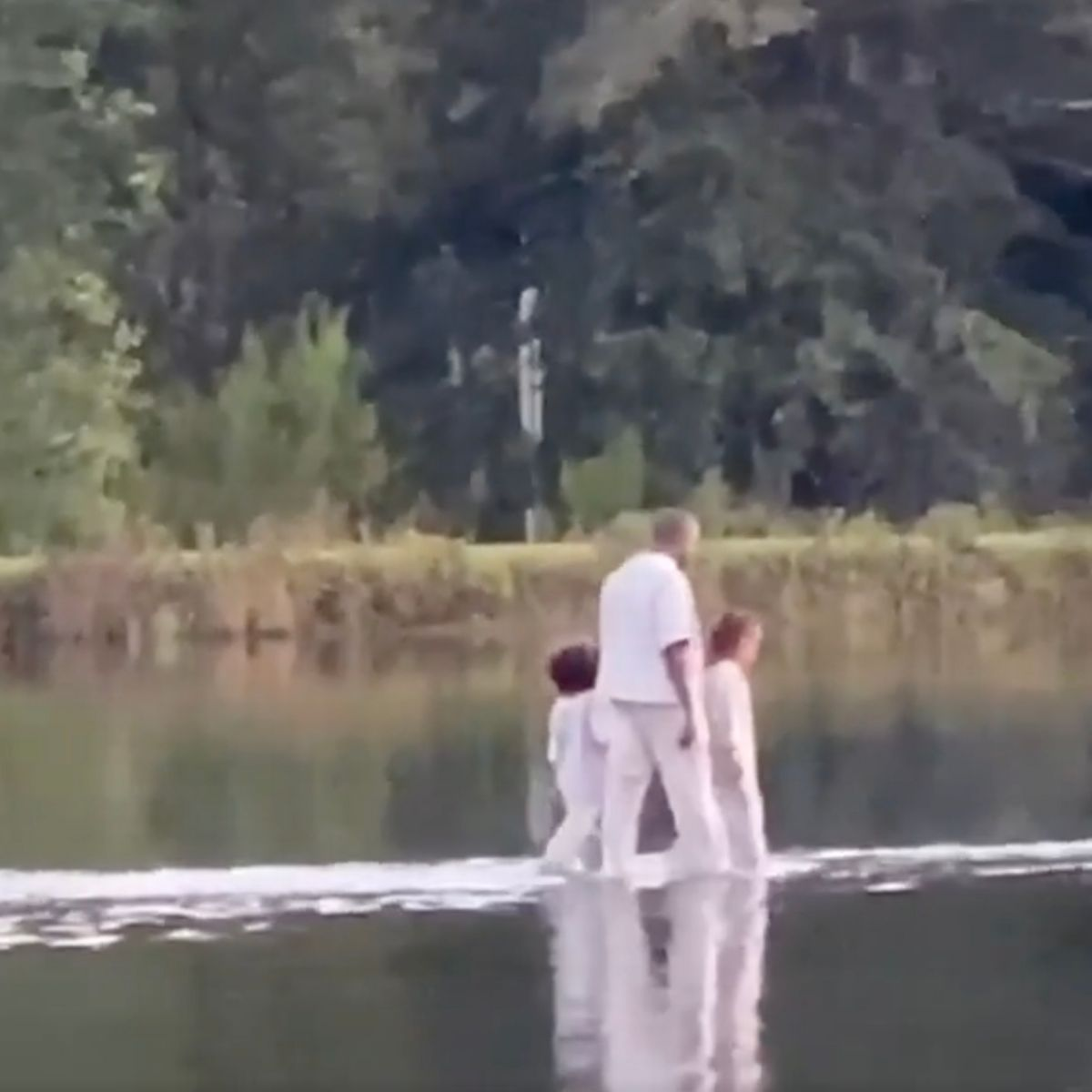 Kanye West Walks On Water During Sunday Service