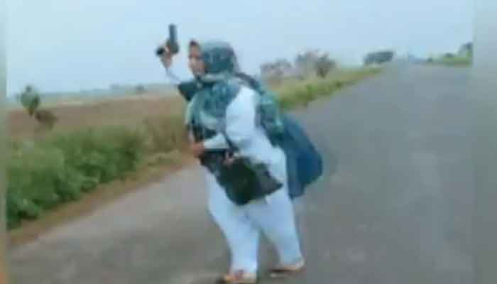 Watch: Sialkot lady health worker's aerial firing footage goes viral