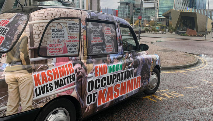 'Kashmiri Lives Matter' posters on Manchester cars highlight IOK issues thumbnail
