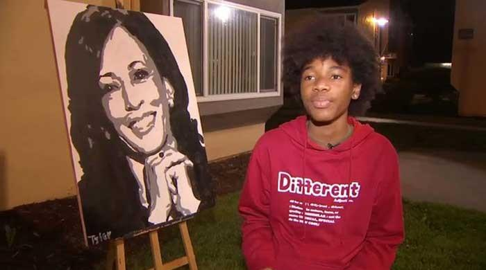 Kamala Harris 'overwhelmed' by 14-year-old's artistry, calls to thank him