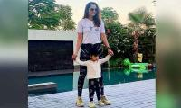 Sania Mirza twinning and winning with son Izhaan Mirza