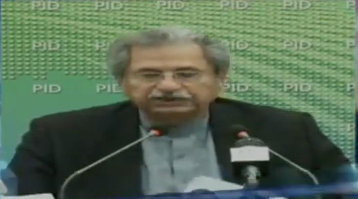 PTI Minister Shafqat Mahmood addressing a press conference on civil reform