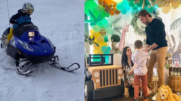 Video: 'Ertugrul' actor Engin Altan appreciates son Emir over his perfect snowmobile ride