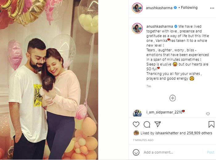 Anuskha, Virat share first picture of daughter Vamika
