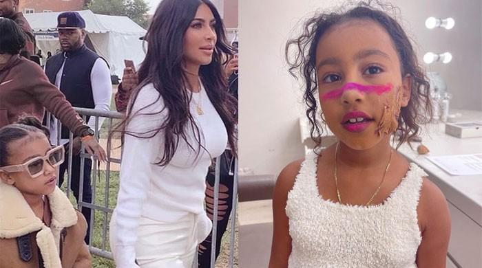Kim Kardashian shares a hilarious photo of daughter North West testing out some makeup looks