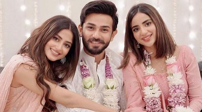 Sajal Aly shares stunning pictures from Saboor Aly, Ali Ansari's engagement ceremony