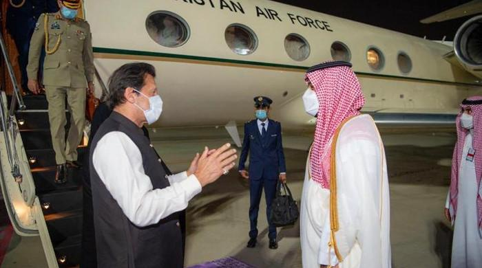 Prime Minister Imran Khan arrived in Saudi Arabia on a three-day visit