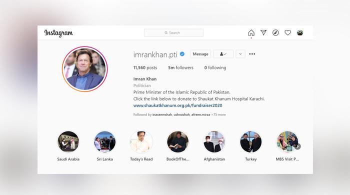 Prime Minister Imran Khan gathered 500,000 followers on Instagram