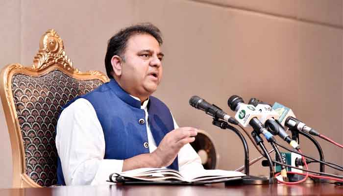 Minister for Information and Broadcasting Fawad Chaudhry addressing a press conference in Islamabad, on June 15, 2021. — PID