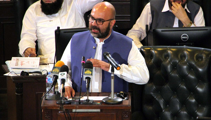 Finance Minister Taimur Salim Jhagra presents PTI-led governments third budget at KP Assembly in Peshawar, on June 18, 2021. — PPI