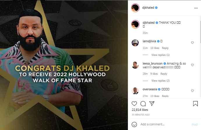 DJ Khaled glad after receiving Hollywood Walk of Fame Star