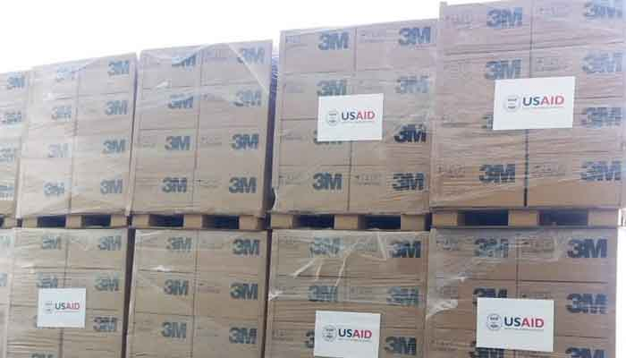 A view of the more than one million pieces of critical personal protective equipment for Pakistan's frontline healthcare workers and medical professionals, delivered to Pakistan by the US via USAID, on Saturday, June 19, 2021. — Photo courtesy US Embassy in Islamabad
