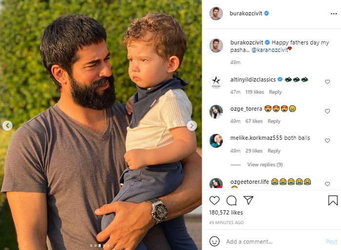 Burak Ozcivit's adorable picture with son from sets of 'Kurulus: Osman' wins the internet