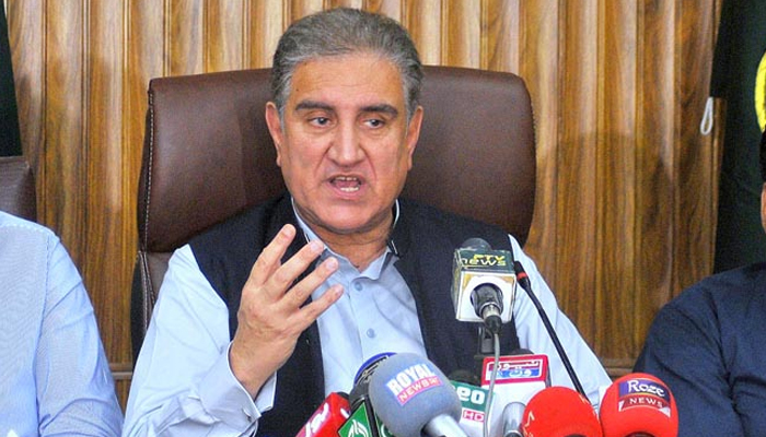 Foreign Minister Makhdoom Shah Mehmood Qureshi addressing a press conference in Multan, on June 12, 2021. — APP/File