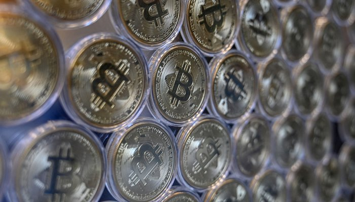 In this file photo taken on December 17, 2020 shows a physical imitation of a Bitcoin at a crypto currency Bitcoin Change shop, near the Grand Bazaar, in Istanbul. — AFP/File