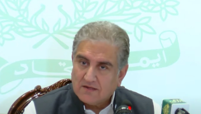 Foreign Minister Shah Mahmood Qureshi speaking to media in Islamabad, on June 25, 2021. — Screengrab via YouTube
